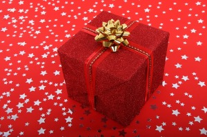 red parcel gold wrap